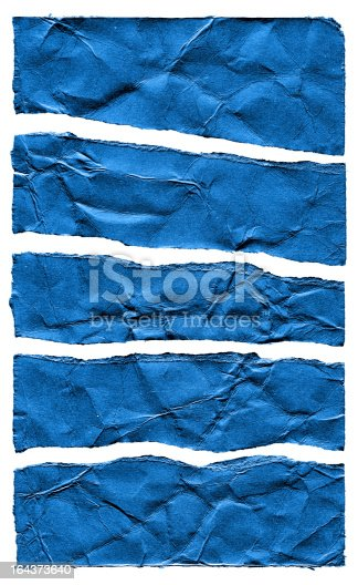 170011440 istock photo Torn Blue Paper textured isolated on white background 164373640