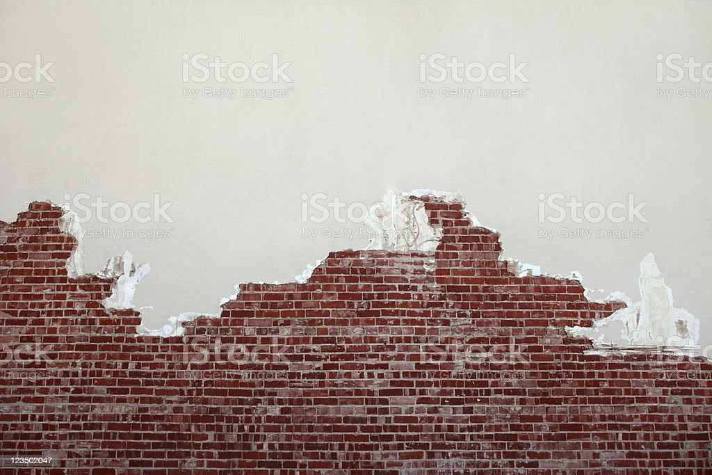 Torn Brick Wall stock photo