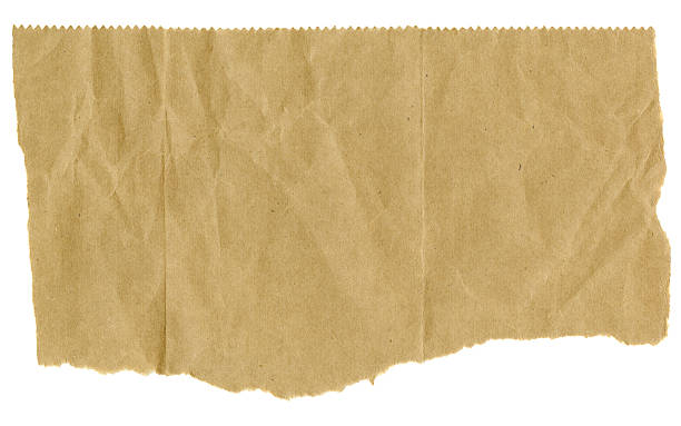 Torn Brown Paper with Serrated Edge on Top stock photo