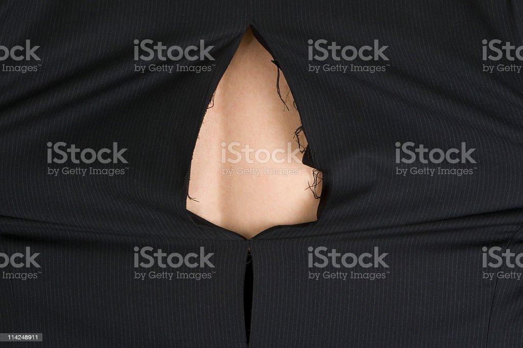 Torn business jacket (XXL) stock photo