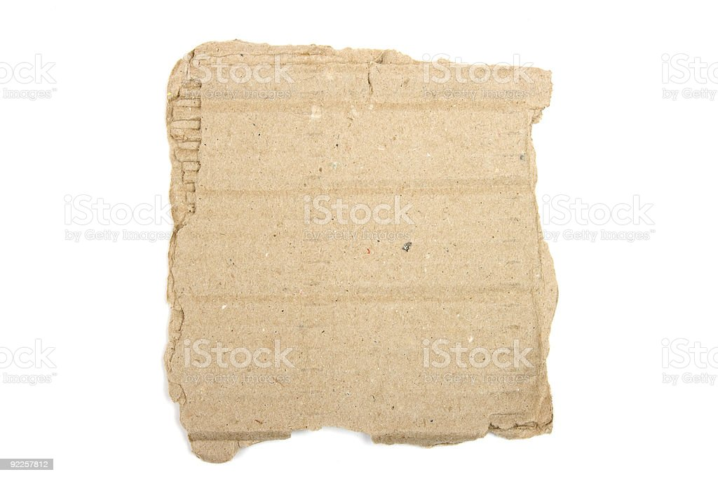 Torn cardboard isolated on white. stock photo