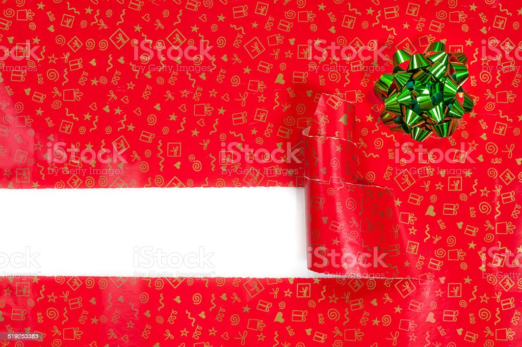 Torn christmas gift box stock photo