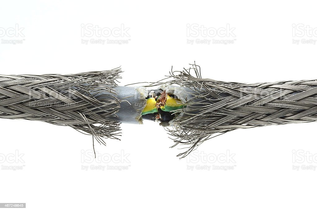 torn damaged power cable stock photo