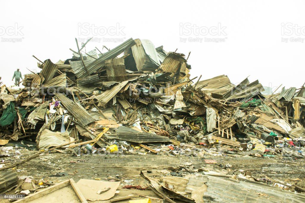 Torn down neighbourhood in shanty town stock photo