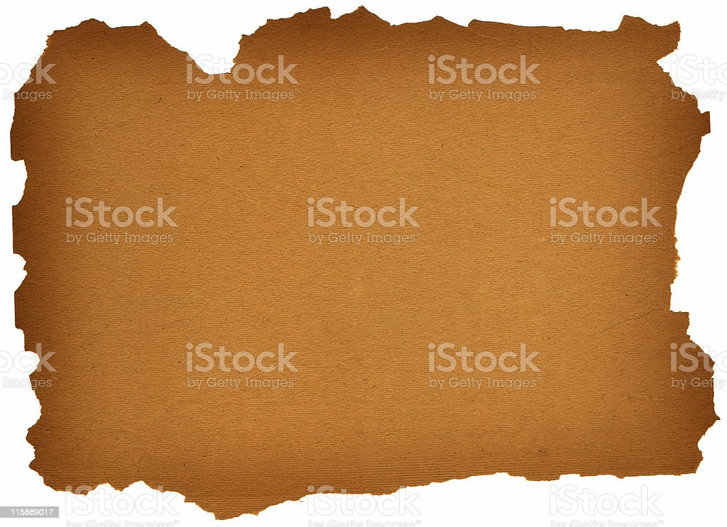 torn edged parchment paper stock photo