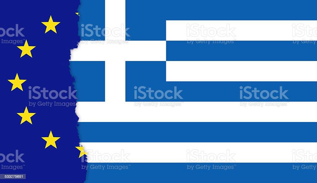 Torn EU flag with Greek flag stock photo