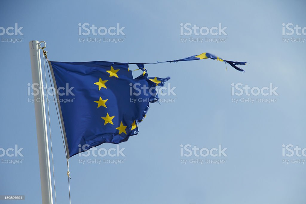 Torn flag of European Union. stock photo