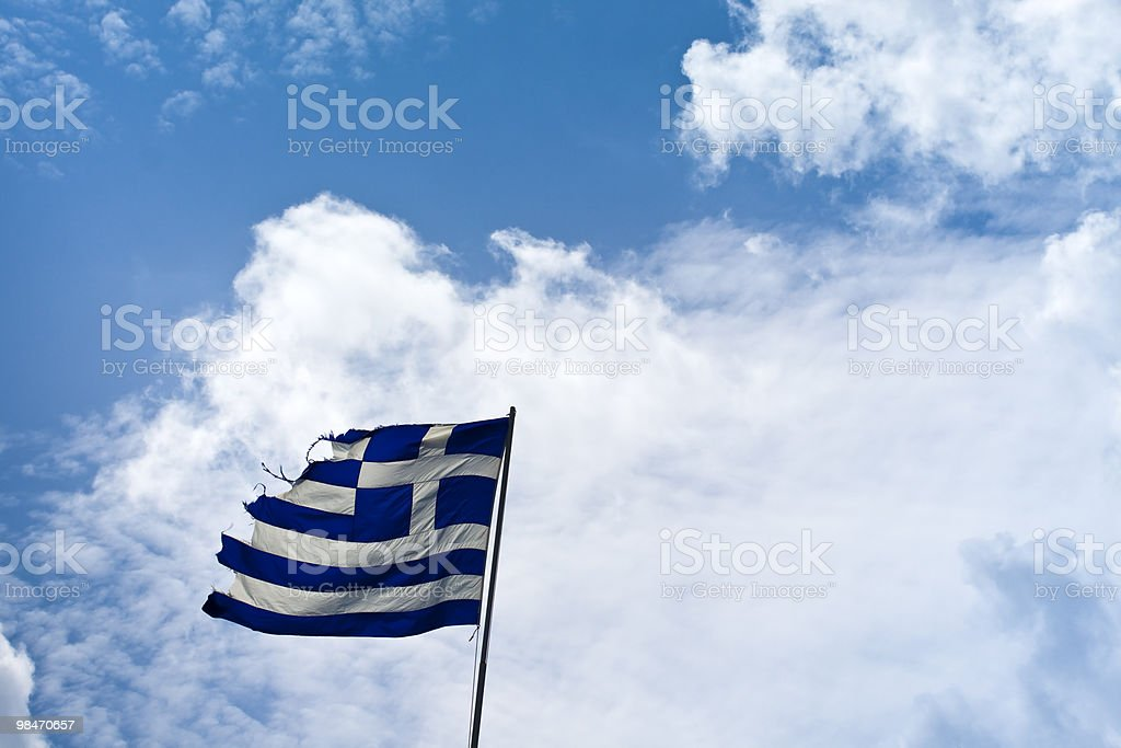 torn flag of greece royalty-free stock photo