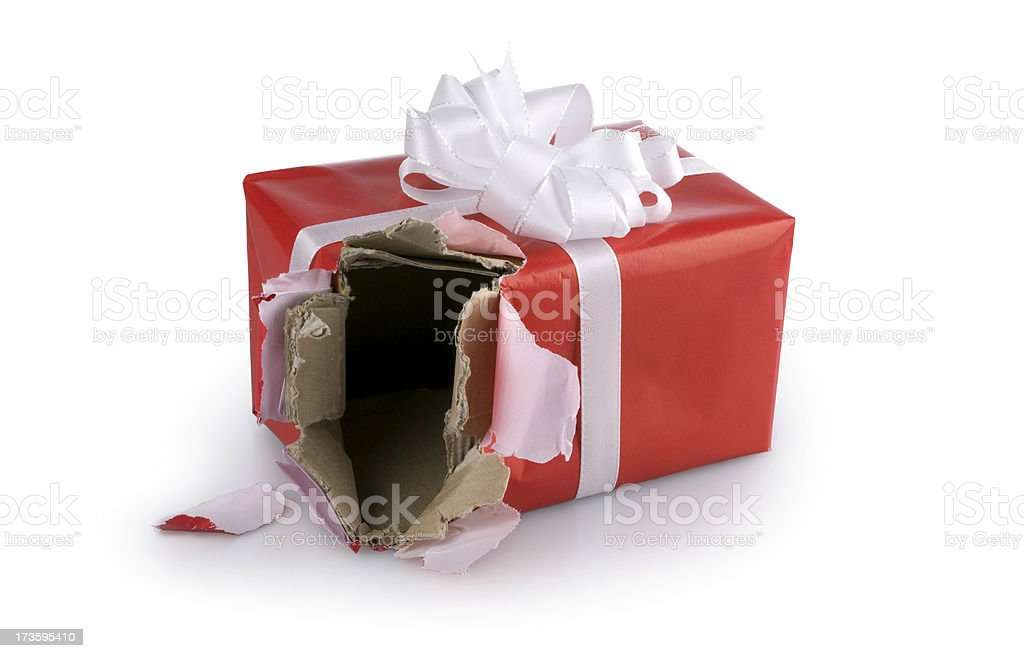 Torn gift box. Open Christmas Present Damaged Red Birthday stock photo