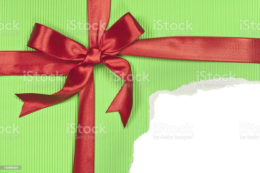 Torn Green Gift Box stock photo