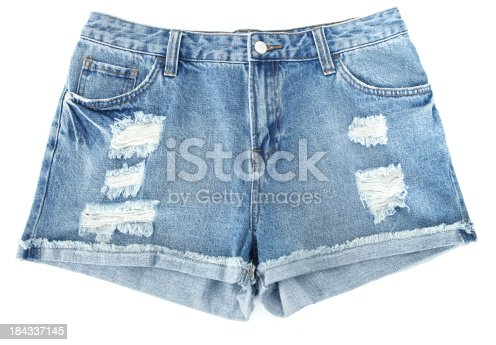 Torn shorts on white background