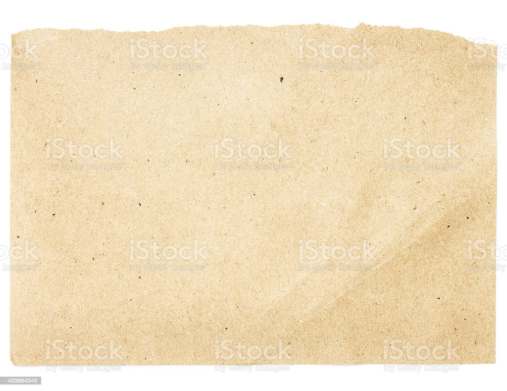 Torn Notepaper recycled beige paper cardstock texture royalty-free stock photo