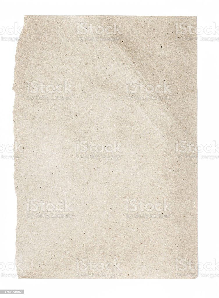 Torn Notepaper recycled brown cardstock texture as background royalty-free stock photo