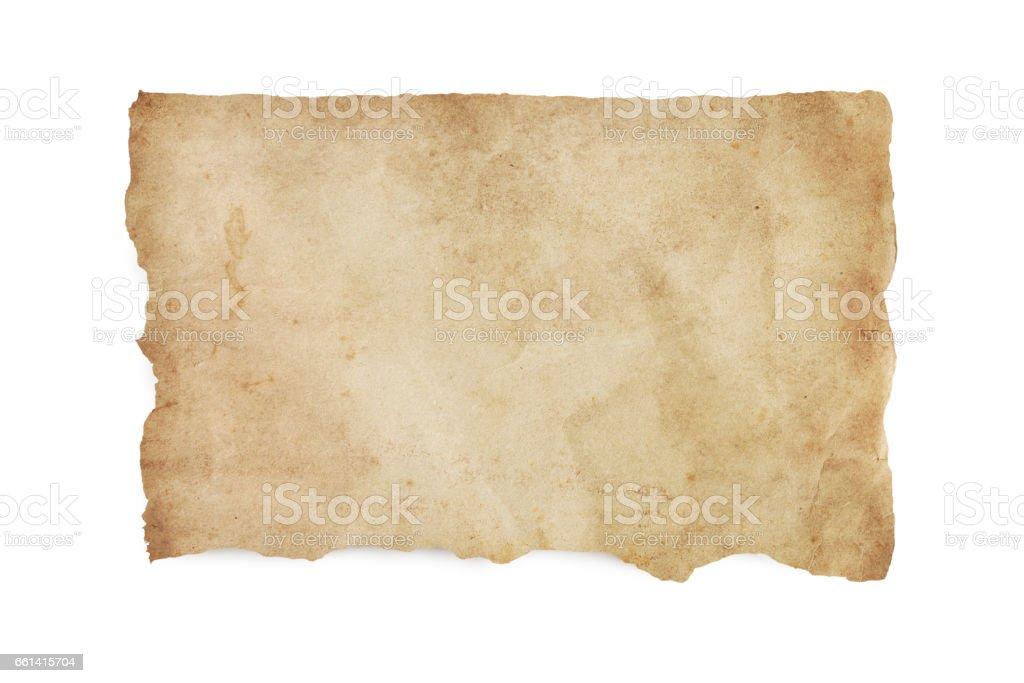 Rasgadas velho manchado papel com caminho de recorte - foto de acervo