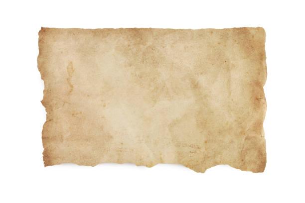 Hin-und hergerissen altes Papier mit Schneidepfad befleckt – Foto