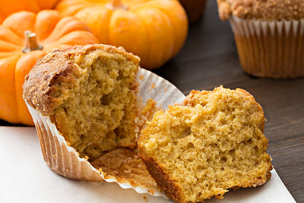 Torn Open Pumpkin Muffin stock photo