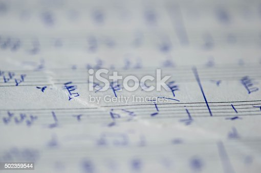 Torn page notebook with handwritten notes for piano