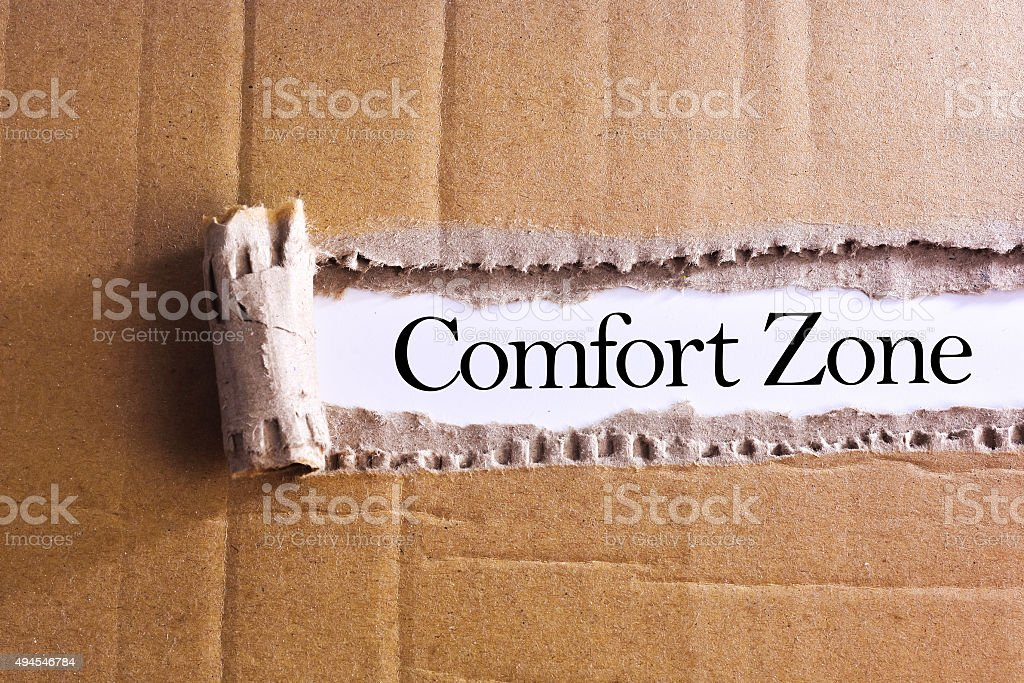 Torn paper box with word Comfort zone stock photo