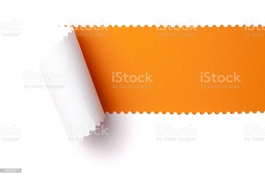 Torn paper. Discovery Emergence Tearing perforated Rolled Up Background royalty-free stock photo
