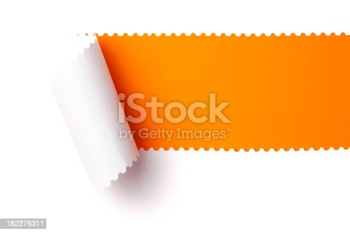 White torn paper over orange background.Use the selective color tool in Photoshop to change the orange to any other color.
