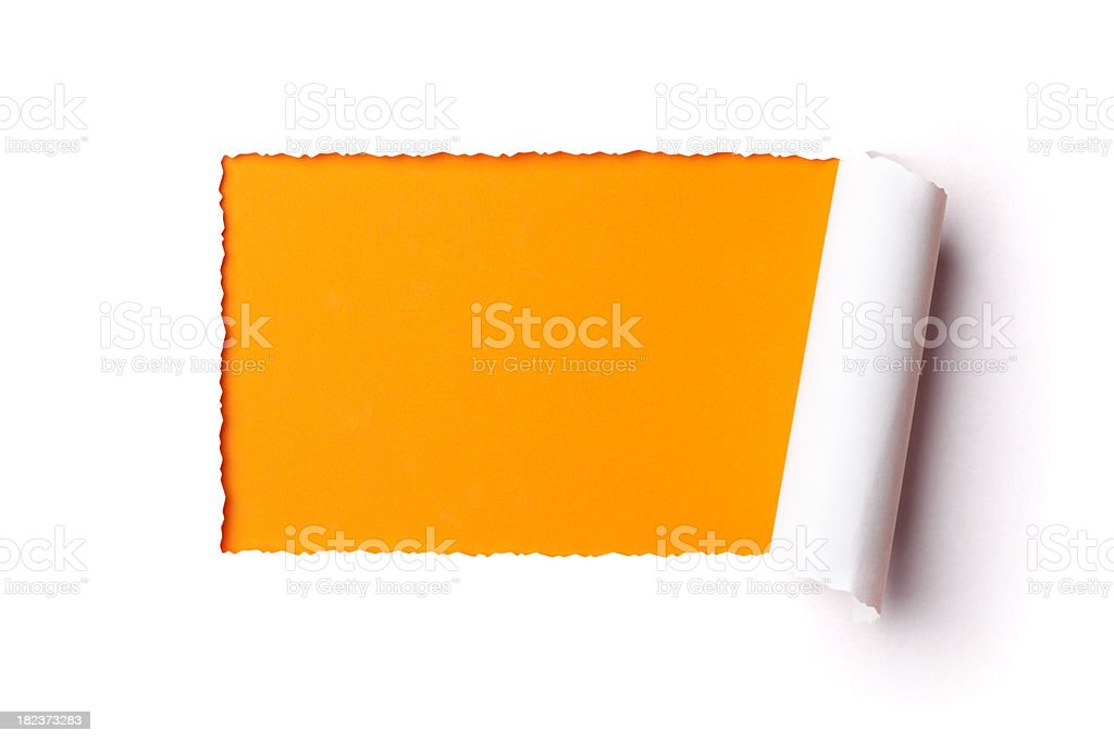 Torn paper frame. Tearing Hole Rolled Up Inside Discovery royalty-free stock photo