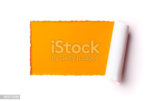 istock Torn paper frame. Tearing Hole Rolled Up Inside Discovery 182373283