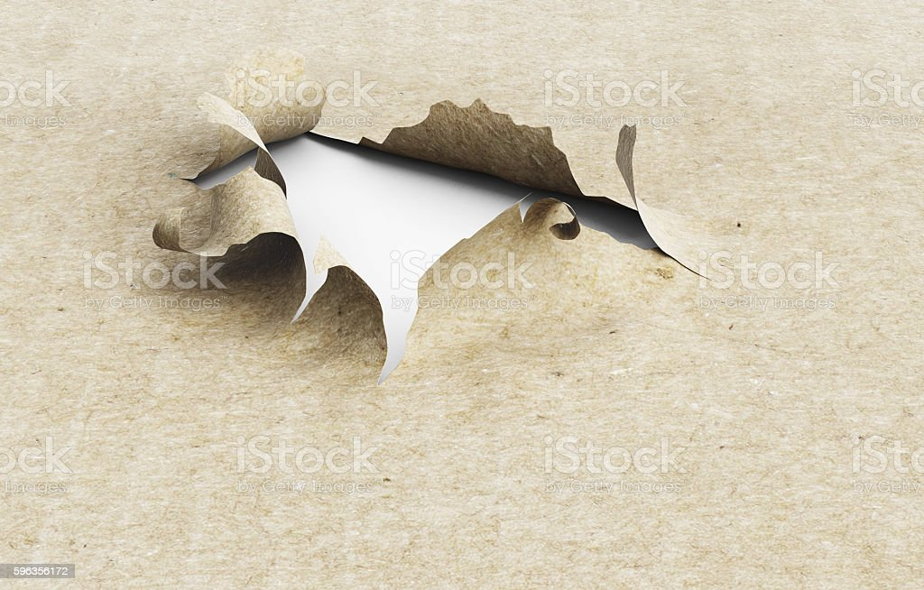 Torn paper hole on a white background. 3d illustration. royalty-free stock photo