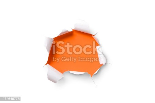 istock Torn paper hole. Tearing Inside Discovery through Emergence Orange 174646775