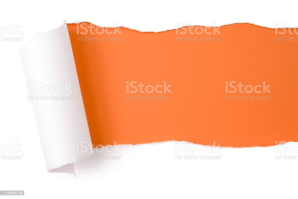 Torn paper.  Tearing Orange Discovery Backgrounds Frame Emergence royalty-free stock photo