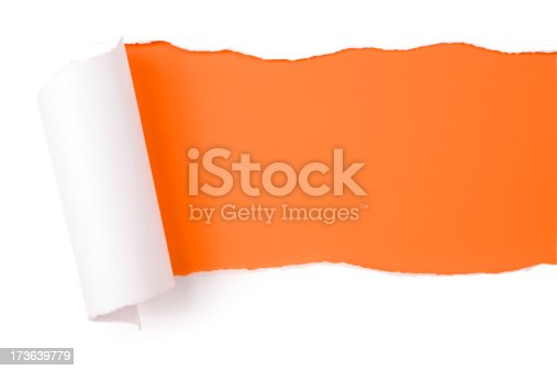 istock Torn paper.  Tearing Orange Discovery Backgrounds Frame Emergence 173639779