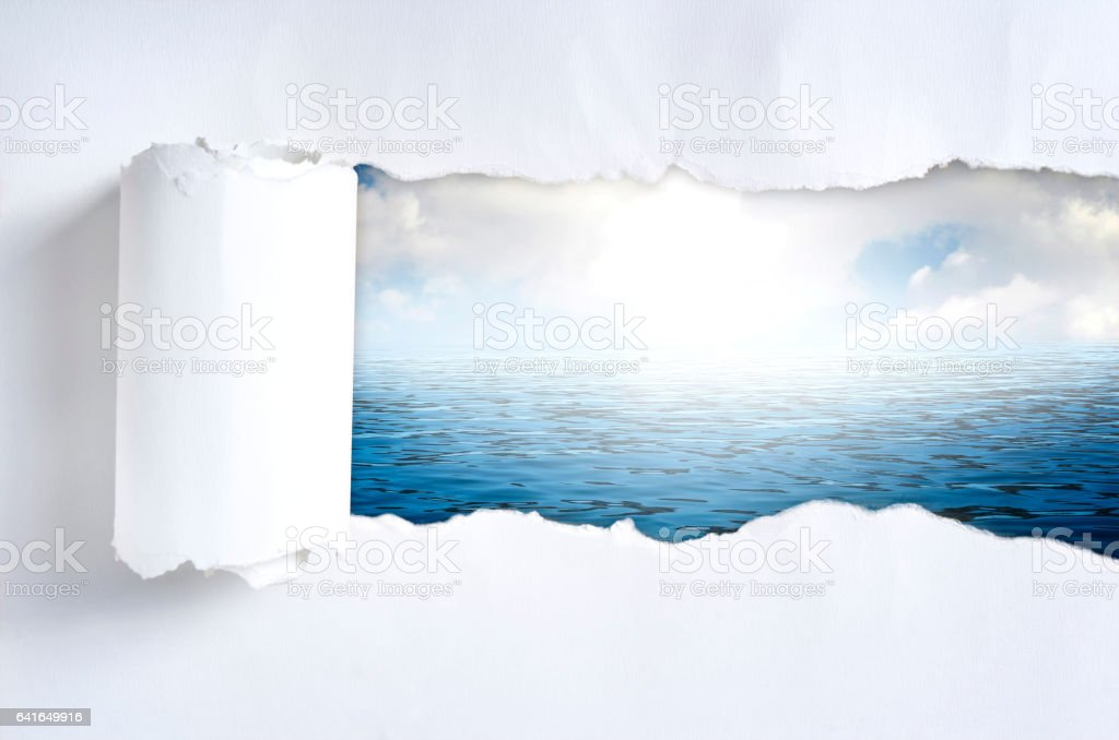 Torn paper with nature in opening background