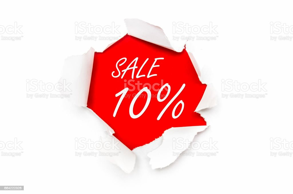 Torn paper with written text - Sale 10% off stock photo