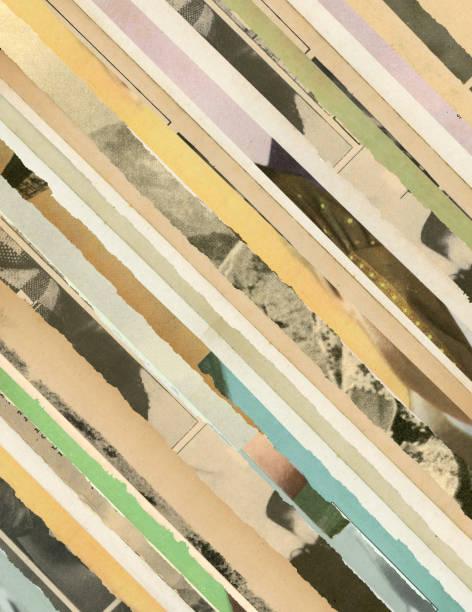 zerrissene papiere collage hintergrund - kollagenblätter stock-fotos und bilder
