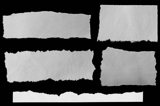 Torn papers on black Five pieces of torn newspaper on black background cut or torn paper stock pictures, royalty-free photos & images
