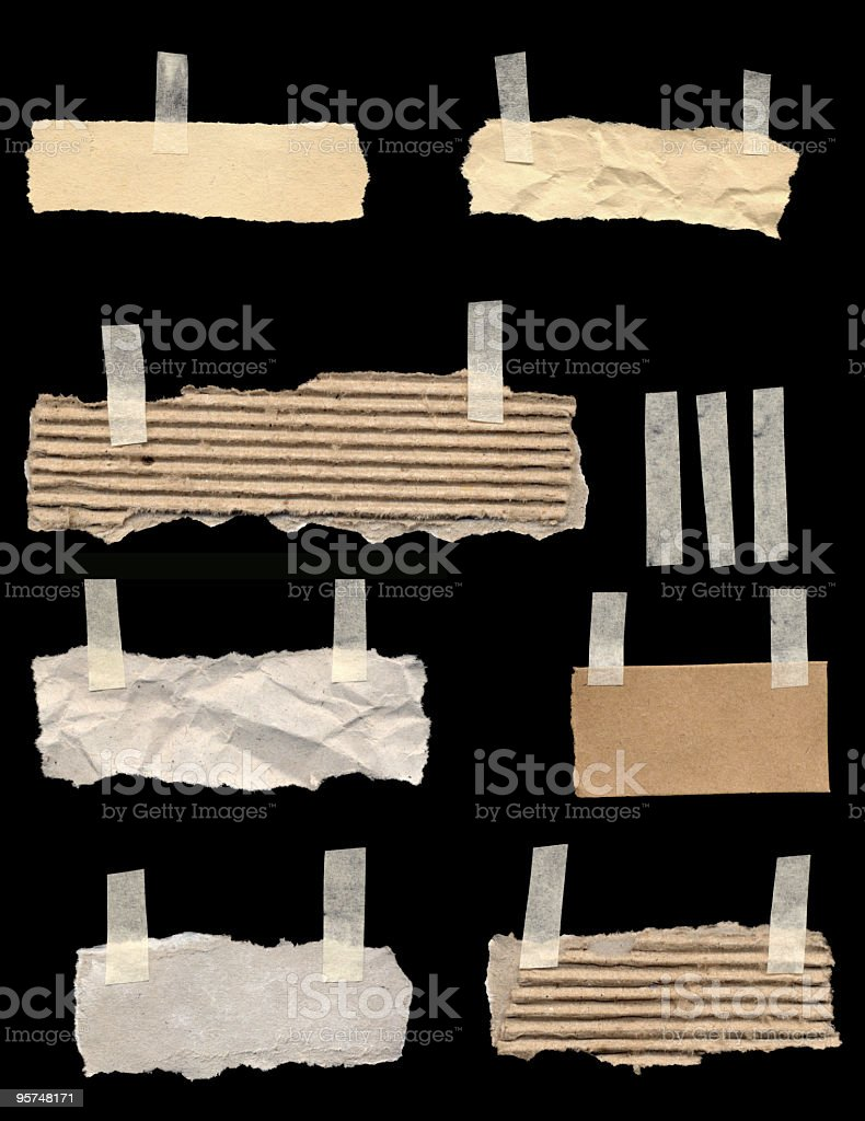 Torn Papers With A Piece Of Tape royalty-free stock photo