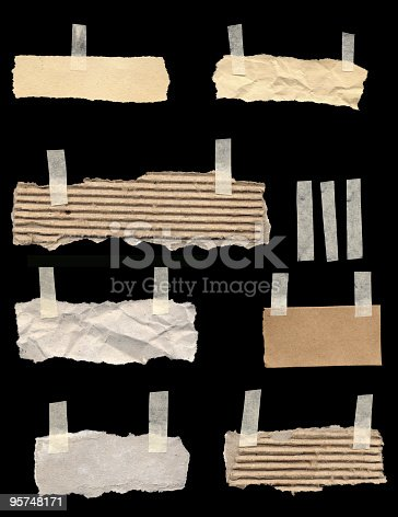 170011440 istock photo Torn Papers With A Piece Of Tape 95748171