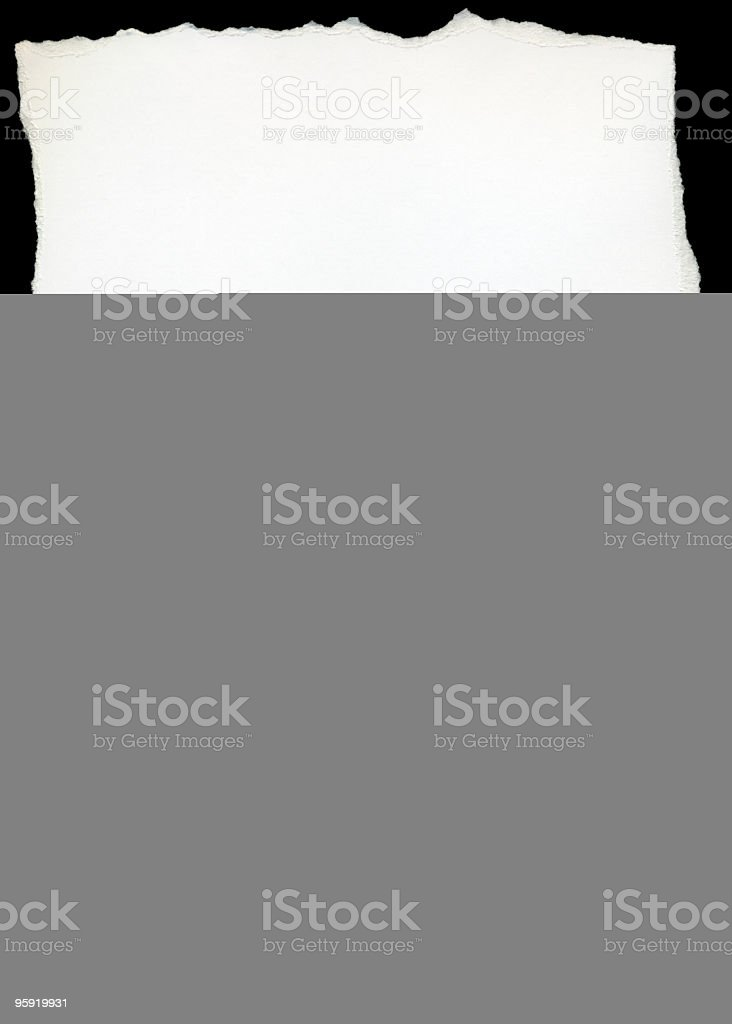 Torn piece of paper in white ripples royalty-free stock photo