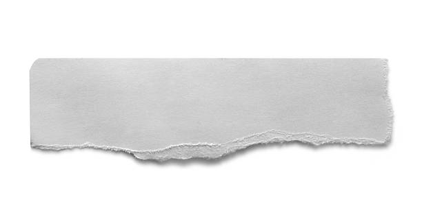 A torn piece of paper on a white background stock photo