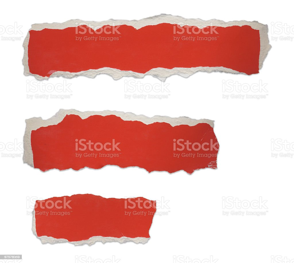Torn Piece of Red Cardboard royalty-free stock photo