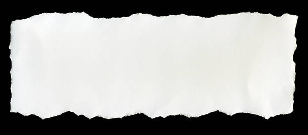a torn piece of white paper on a black background - rivet papper bildbanksfoton och bilder