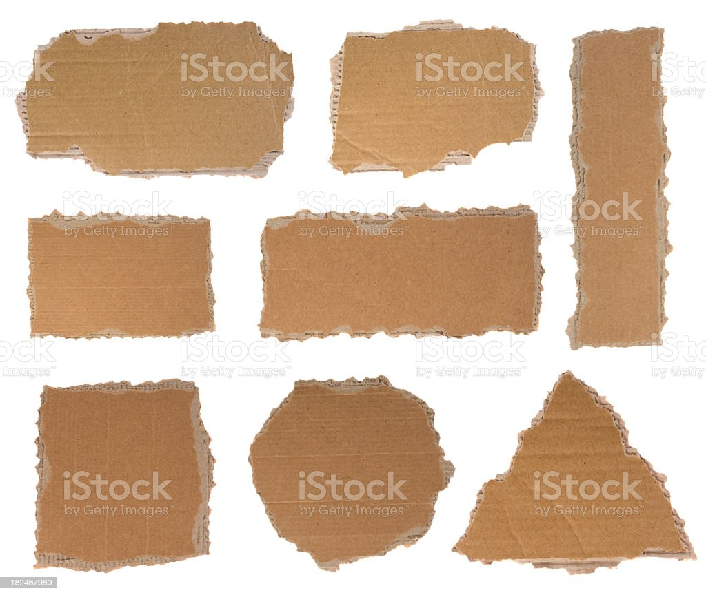 Torn pieces of cardboard stock photo