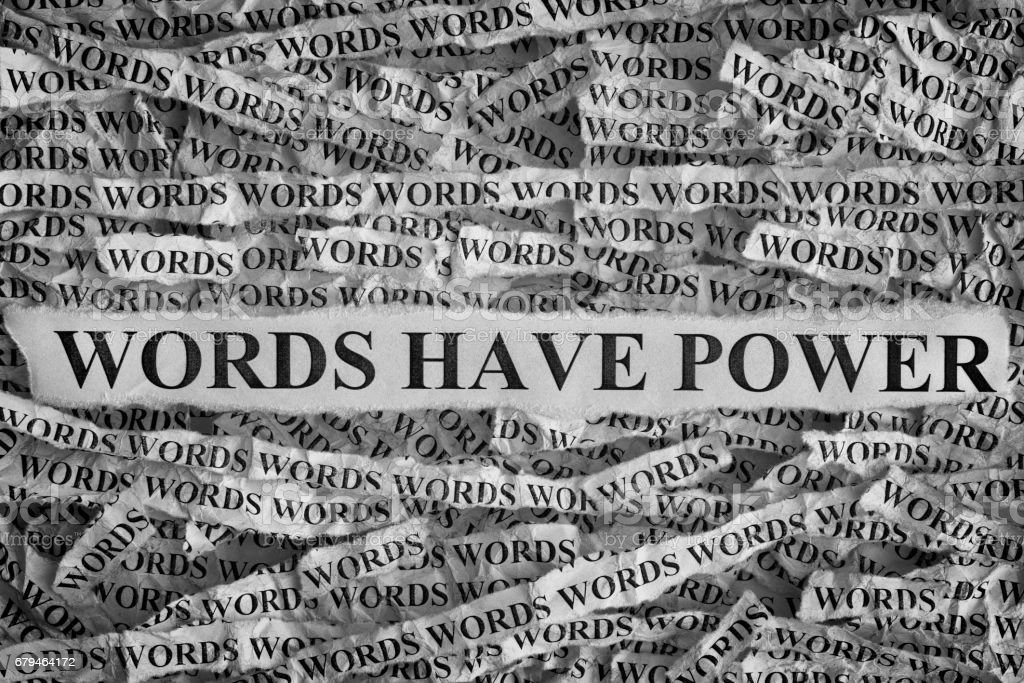 Torn pieces of paper with phrase Words Have Power royalty-free stock photo