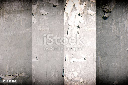 istock Torn poster after vote on tin textured wall. Ripped newspaper 951698992