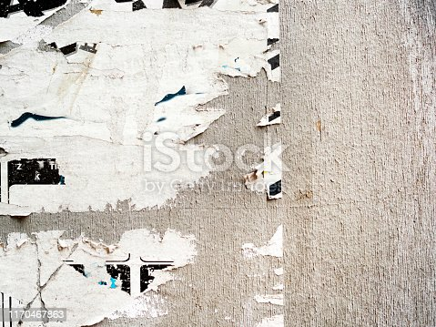 istock Torn Poster Wall Texture, Poster Background ,creased posters backgrounds,Abstract Grunge Background with Old Torn Posters 1170467863