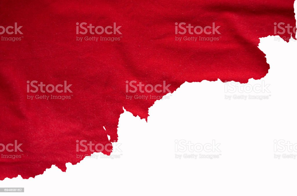 Torn red fabric, detail for designers ideas stock photo