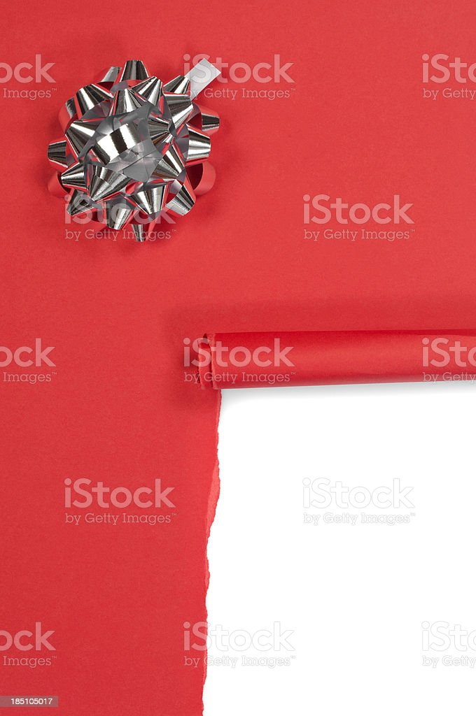 Torn red gift box stock photo
