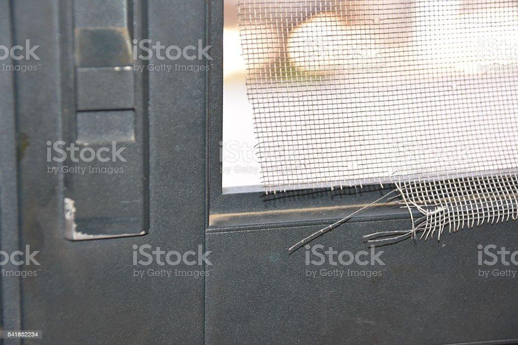 Zerrissen Fliegengittertür – Foto
