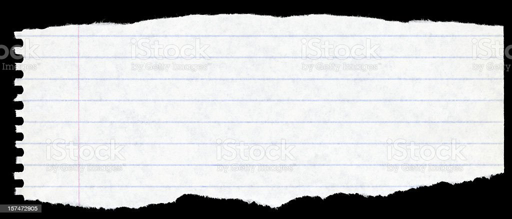 torn sheet of paper from spiral notebook stock photo