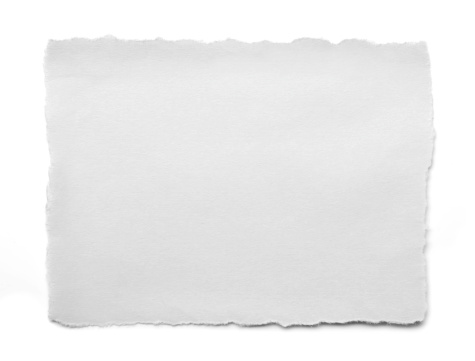 torn white paper on white background.