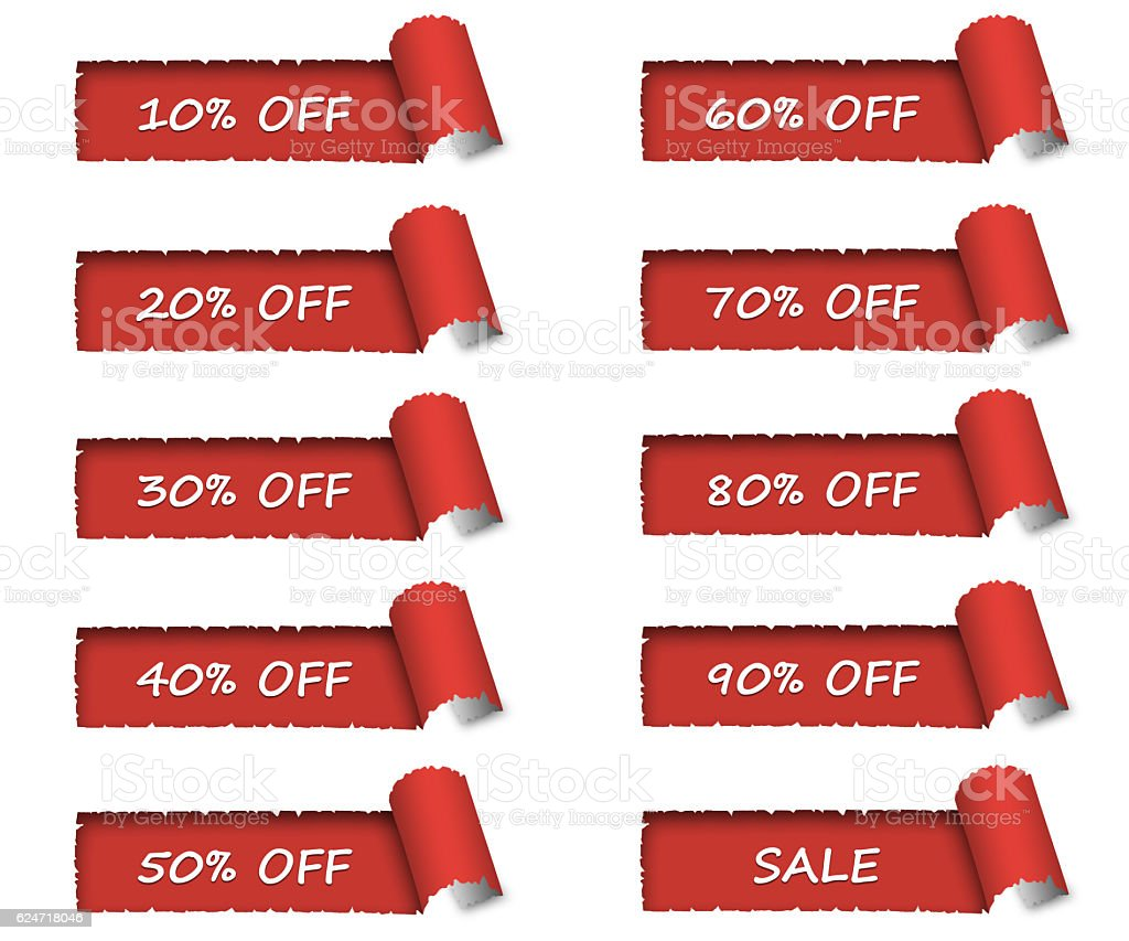 Torn white paper revealing red sales discount background stock photo